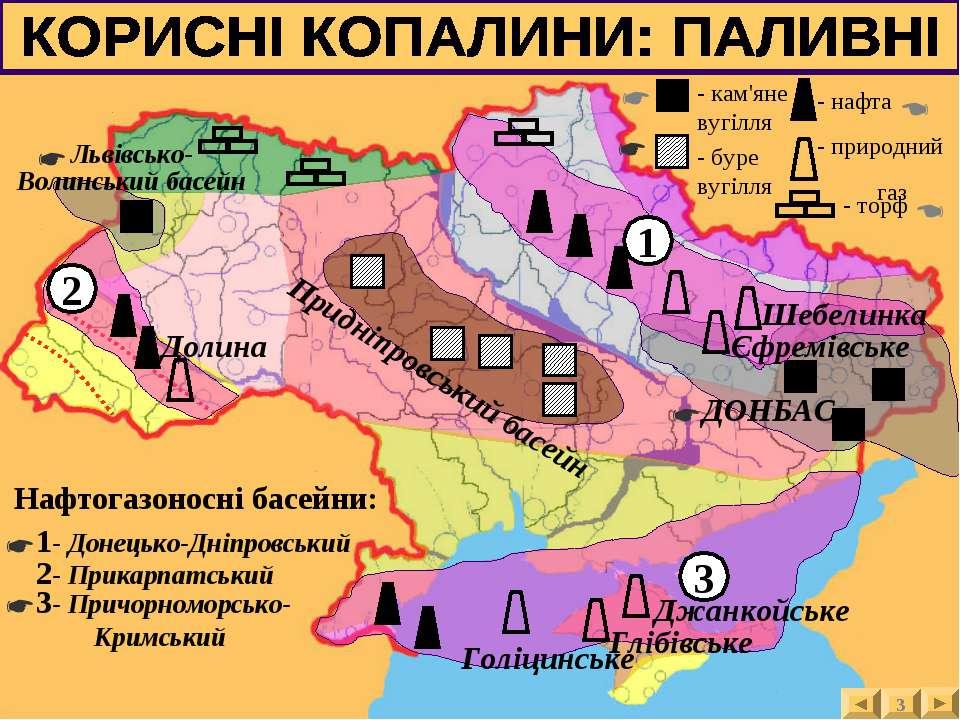 Львівсько-Волинський басейн ДОНБАС Придніпровський басейн 1 2 3 2- Прикарпатс...