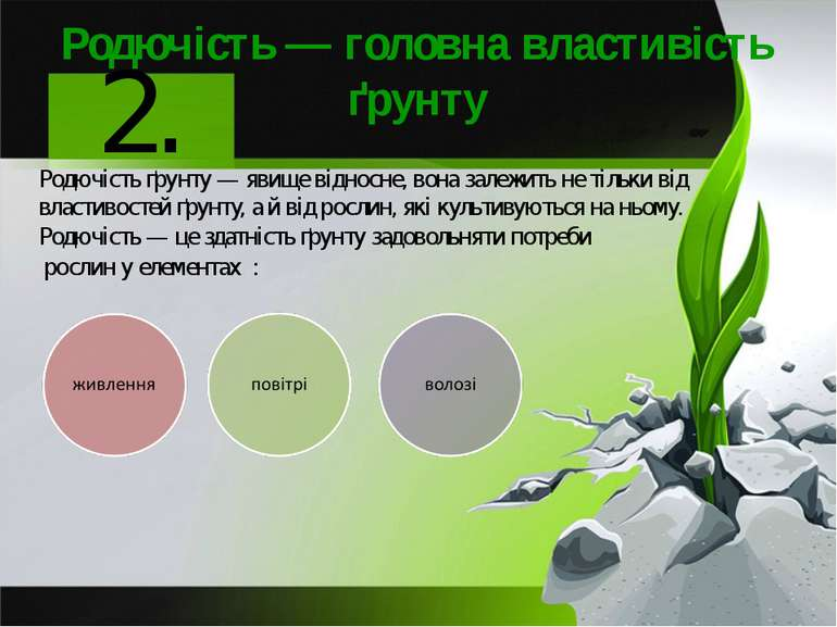 Родючість — головна властивість ґрунту Родючість ґрунту — явище відносне, вон...