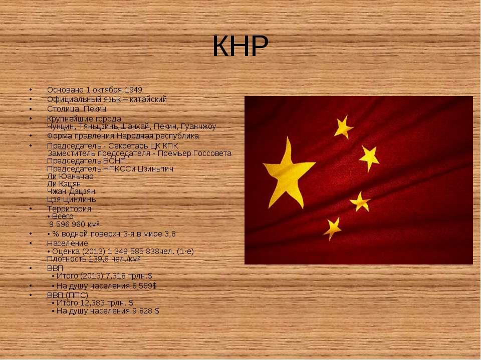 КНР Основано 1 октября1949 Официальный язык – китайский Столица Пекин Крупне...