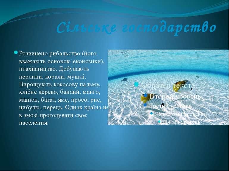 Сільське господарство Розвинено рибальство (його вважають основою економіки),...