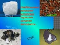 Найбільшими запасами металевих корисних копалин володіють: США Канада Австрал...