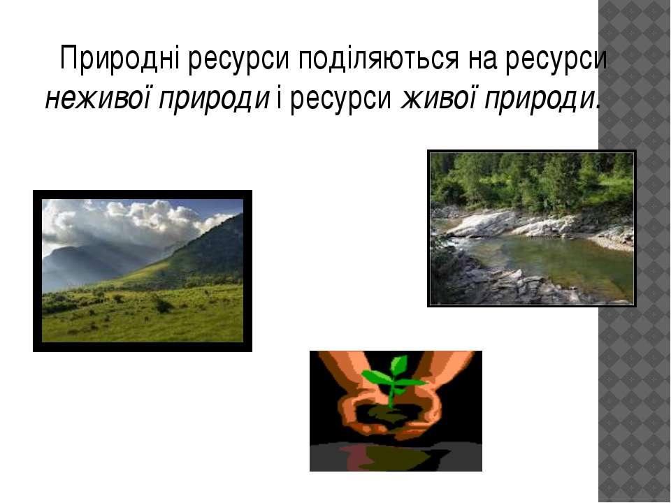 Природні ресурси поділяються на ресурси неживої природи і ресурси живої природи.