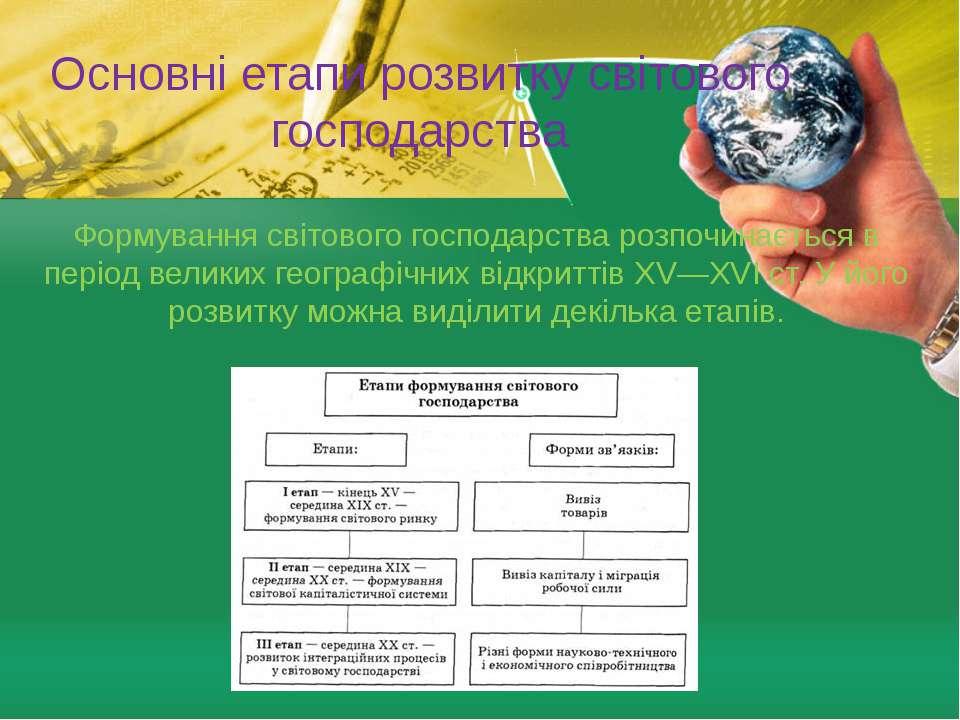 Основні етапи розвитку світового господарства Формування світового господарст...