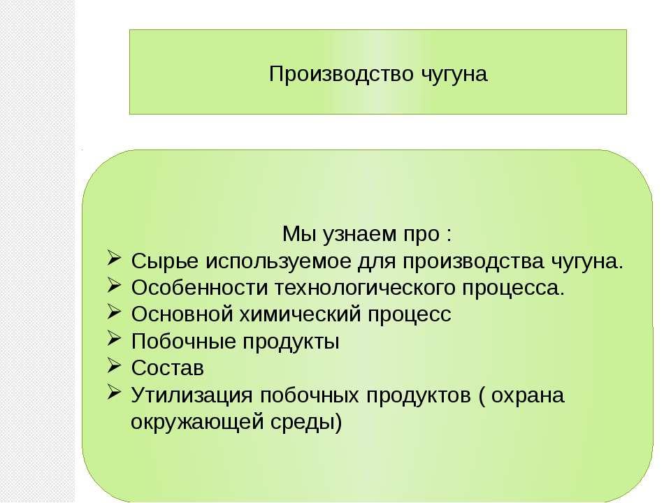 Производство чугуна Мы узнаем про : Сырье используемое для производства чугун...