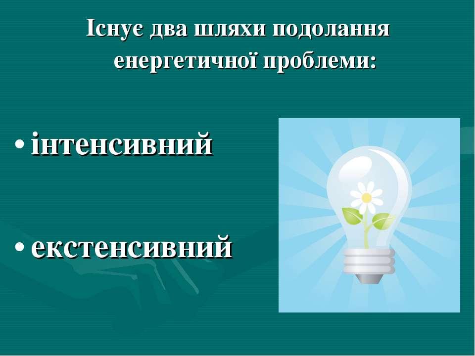 Існує два шляхи подолання енергетичної проблеми: інтенсивний екстенсивний