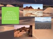 Виділяють: 1)Піщані пустелі 2)Глинисті пустелі 3) Кам'янисті пустелі 4)Галечн...