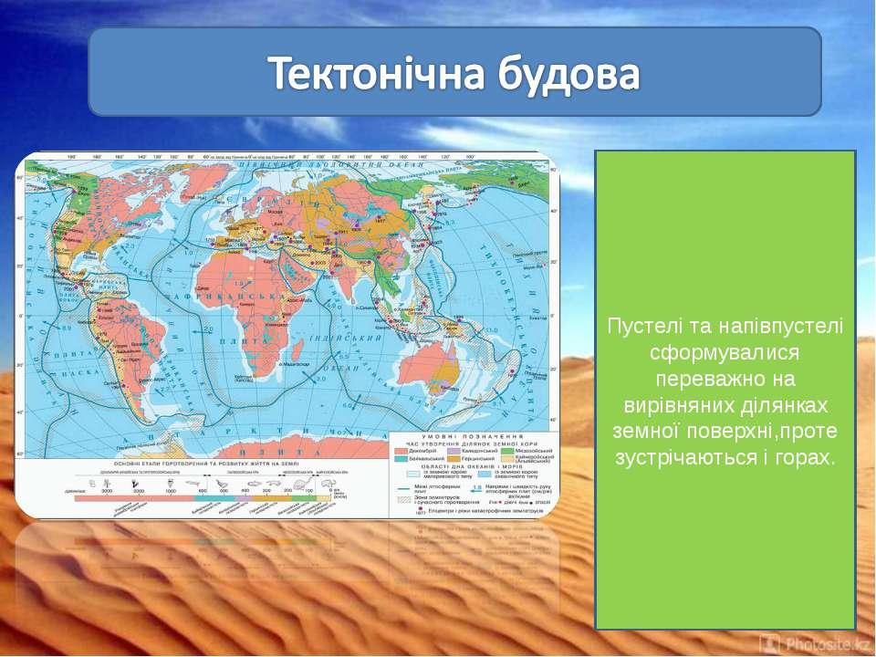 Пустелі та напівпустелі сформувалися переважно на вирівняних ділянках земної ...