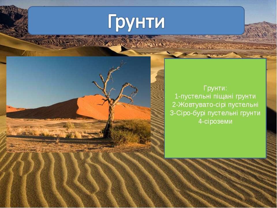 Грунти: 1-пустельні піщані грунти 2-Жовтувато-сірі пустельні 3-Сіро-бурі пуст...