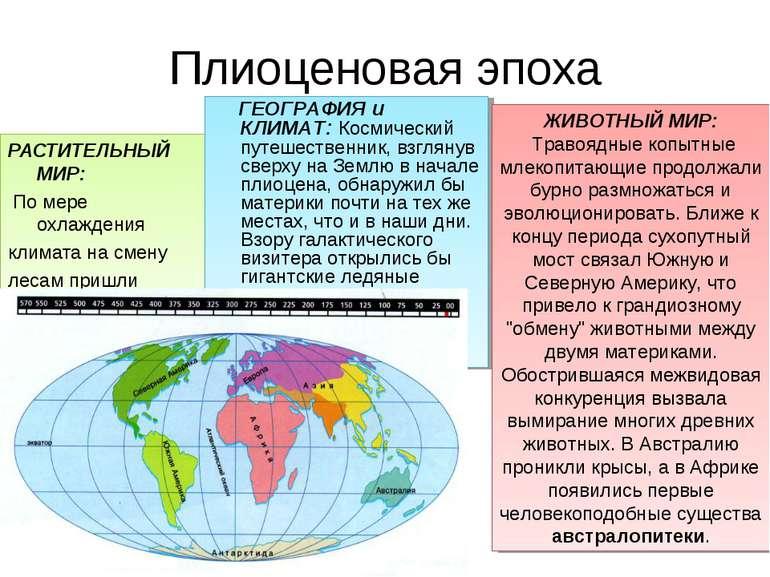 Плиоценовая эпоха РАСТИТЕЛЬНЫЙ МИР: По мере охлаждения климата на смену лесам...