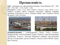 Промисловість ПЕК – добування газу, нафтопереробка (Мілаццо, Генуя, Венеція);...