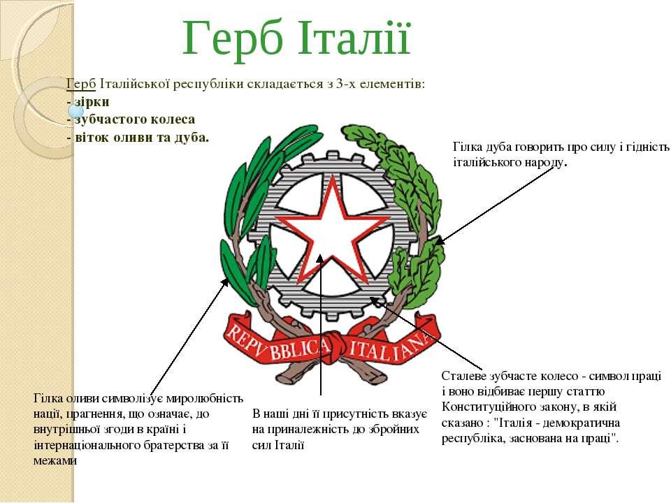 Герб Італії Сталеве зубчасте колесо - символ праці і воно відбиває першу стат...