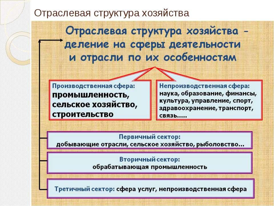 Отраслевая структура хозяйства