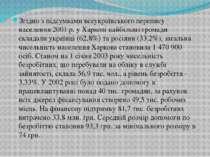 Згідно з підсумкамивсеукраїнського перепису населення 2001 р.у Харкові найб...