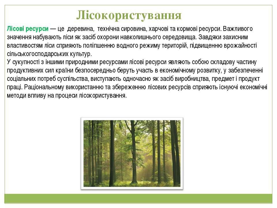 Лісові ресурси— це деревина, технічна сировина, харчові та кормові ресурси. ...