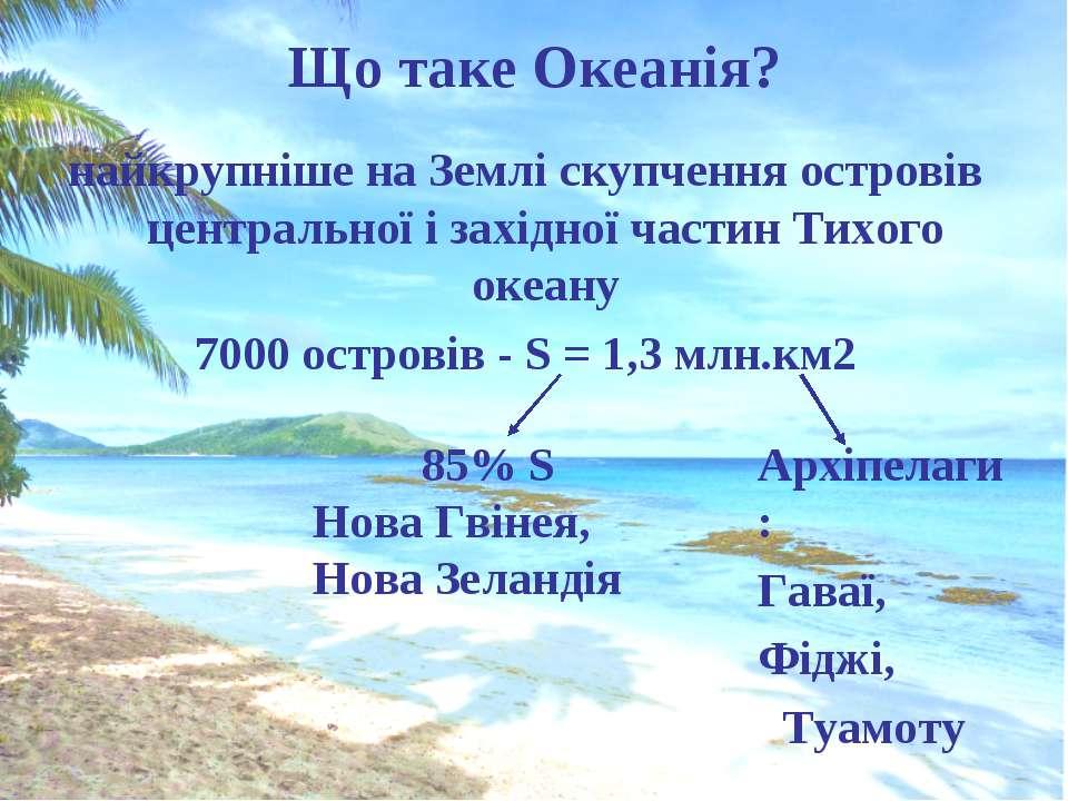 Що таке Океанія? найкрупніше на Землі скупчення островів центральної і західн...