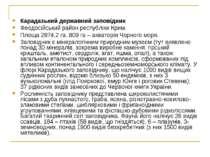 Карадазький державний заповідник Феодосійський район республіки Крим. Площа 2...