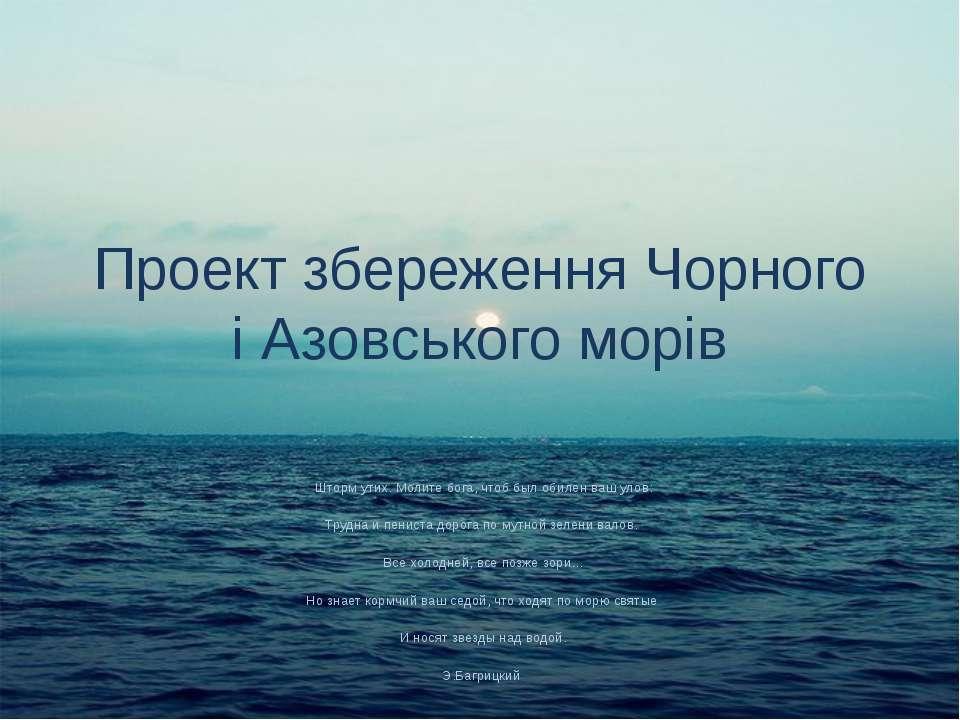 Проект збереження Чорного і Азовського морів Шторм утих. Молите бога, чтоб бы...