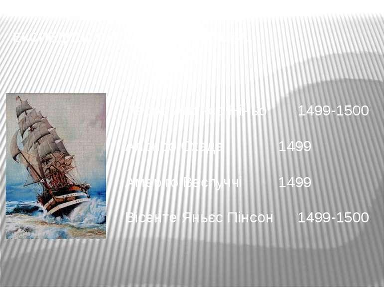 ЕКСПЕДИЦІЇ СУЧАСНИКІВ КОЛУМБА Педро Алонсо Ніньо 1499-1500 Алонсо Охеда 1499 ...