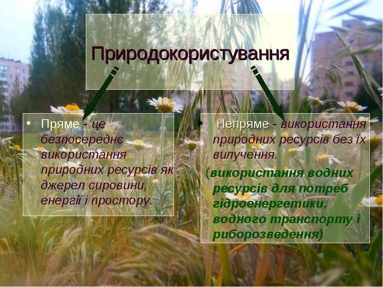 Пряме - це безпосереднє використання природних ресурсів як джерел сировини, е...