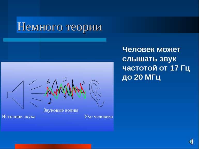 Немного теории Человек может слышать звук частотой от 17 Гц до 20 МГц Источни...