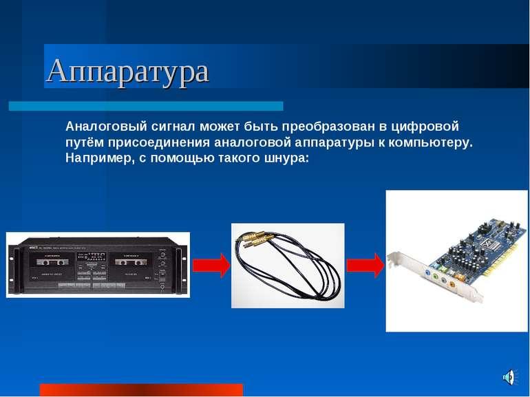 Аппаратура Аналоговый сигнал может быть преобразован в цифровой путём присоед...