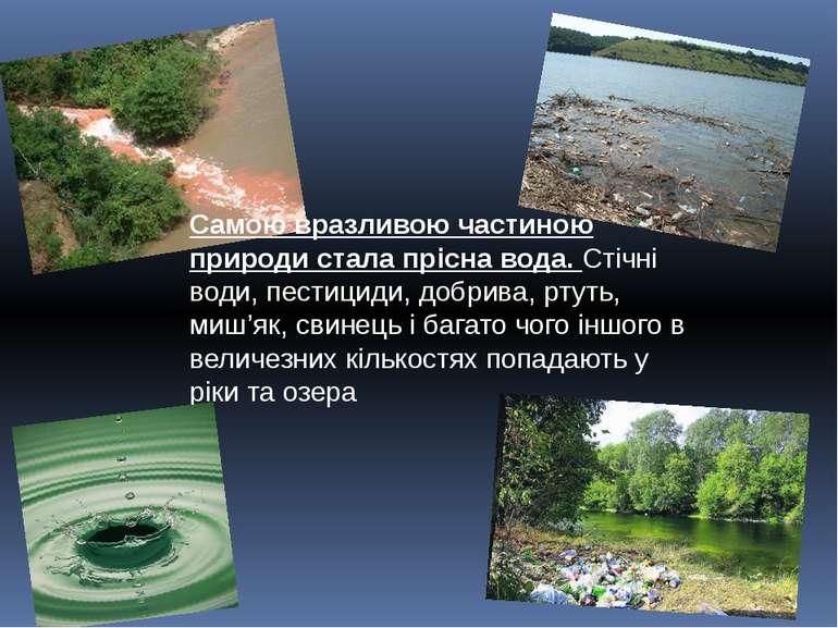 Самою вразливою частиною природи стала прісна вода. Стічні води, пестициди, д...