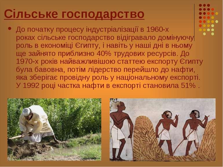 Сільське господарство До початку процесу індустріалізації в 1960-х рокахсіль...