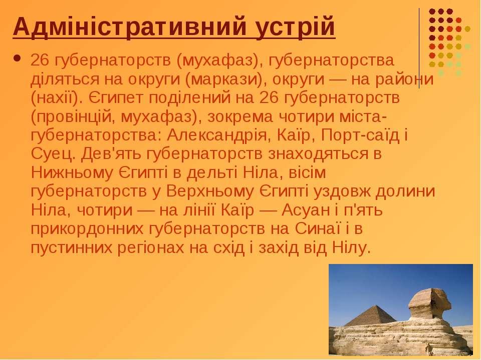 Адміністративний устрій 26 губернаторств (мухафаз), губернаторства діляться н...