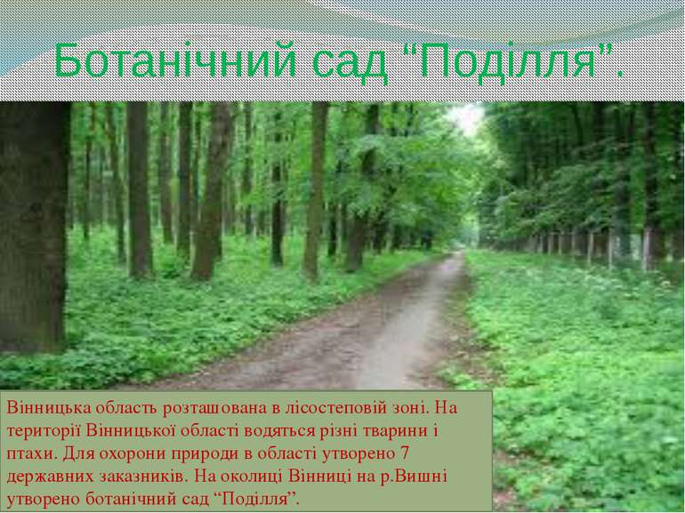 """Ботанічний сад """"Поділля"""". Вінницька область розташована в лісостеповій зоні. ..."""