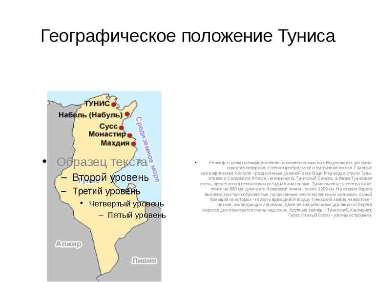 Географическое положение Туниса Рельеф страны преимущественно равнинно-холмис...