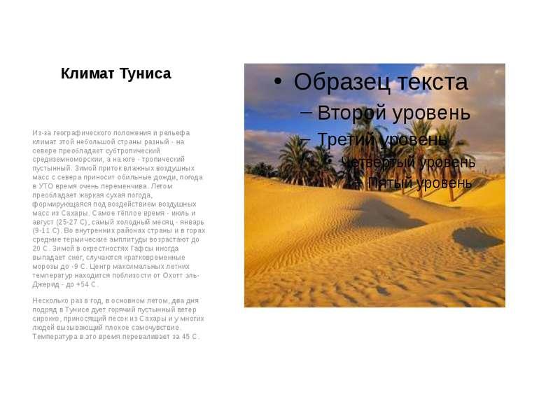 Климат Туниса Из-за географического положения и рельефа климат этой небольшой...