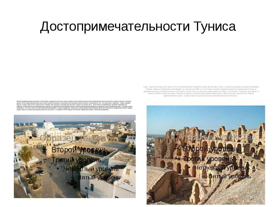 Достопримечательности Туниса Мягкий средиземноморский климат, тёплое море, пр...