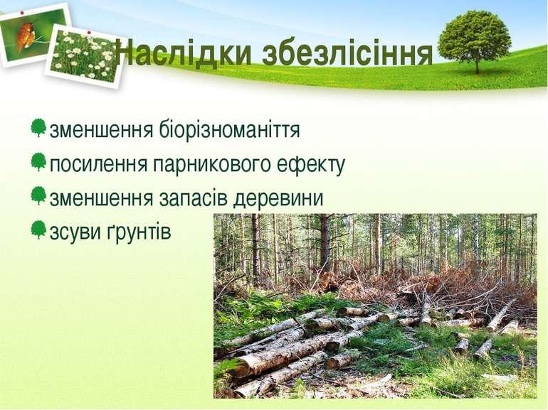 Наслідки збезлісіння зменшення біорізноманіття посилення парникового ефекту з...