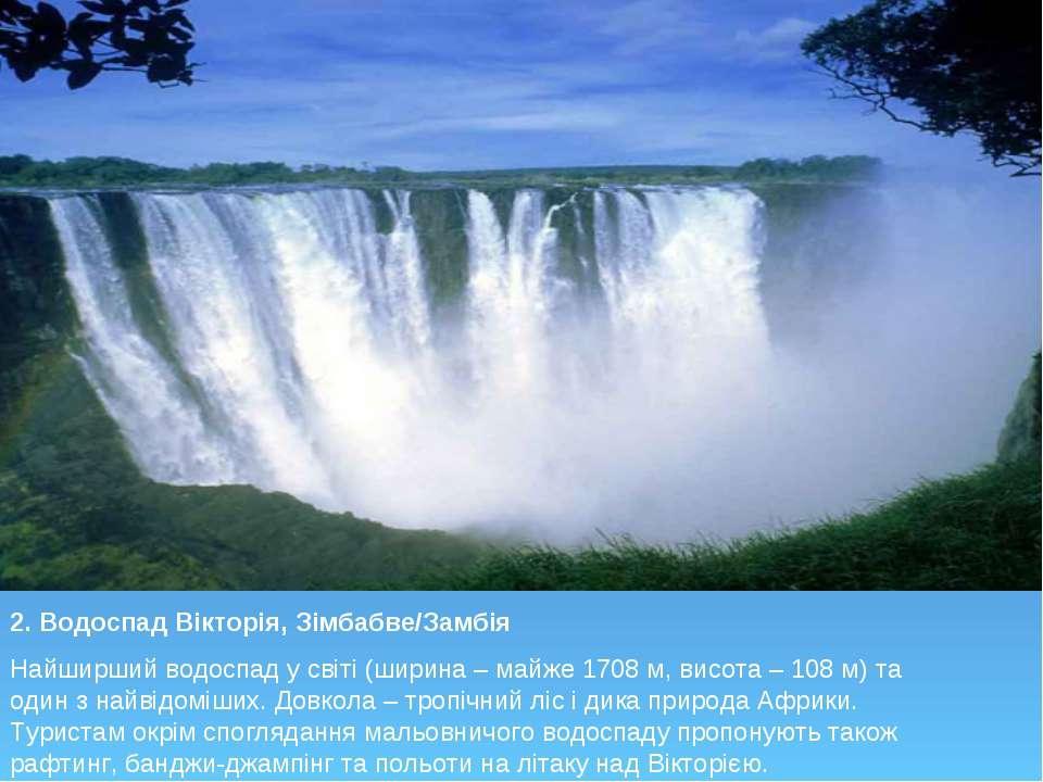 2. Водоспад Вікторія, Зімбабве/Замбія Найширший водоспад у світі (ширина – ма...
