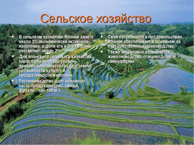 Сельское хозяйство В сельском хозяйстве Японии занято около 3% экономически а...