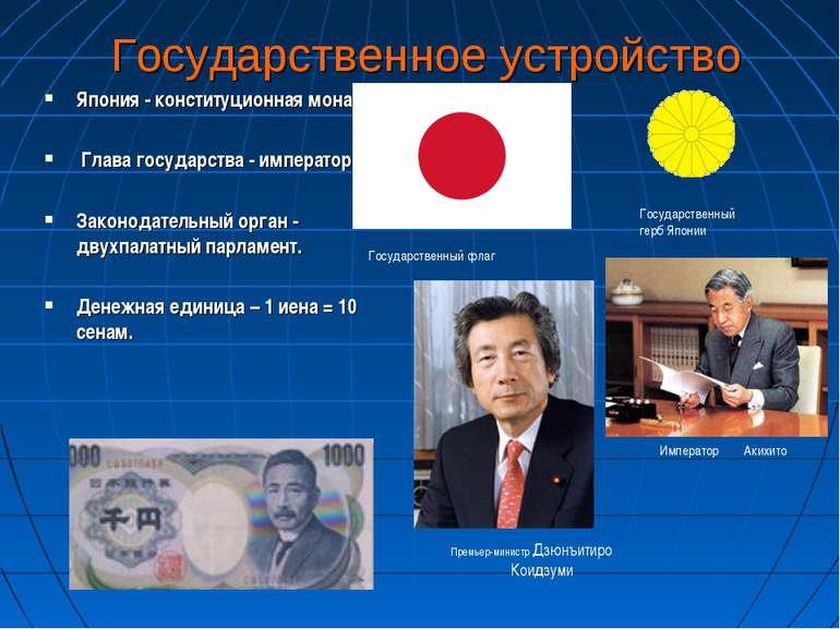 Государственное устройство Япония - конституционная монархия. Глава государст...