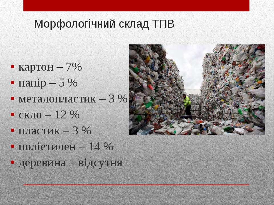 Морфологічний склад ТПВ картон – 7% папір – 5 % металопластик – 3 % скло – 12...