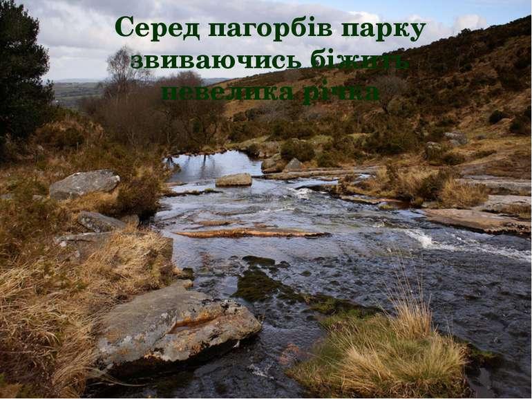 Серед пагорбів парку звиваючись біжить невелика річка