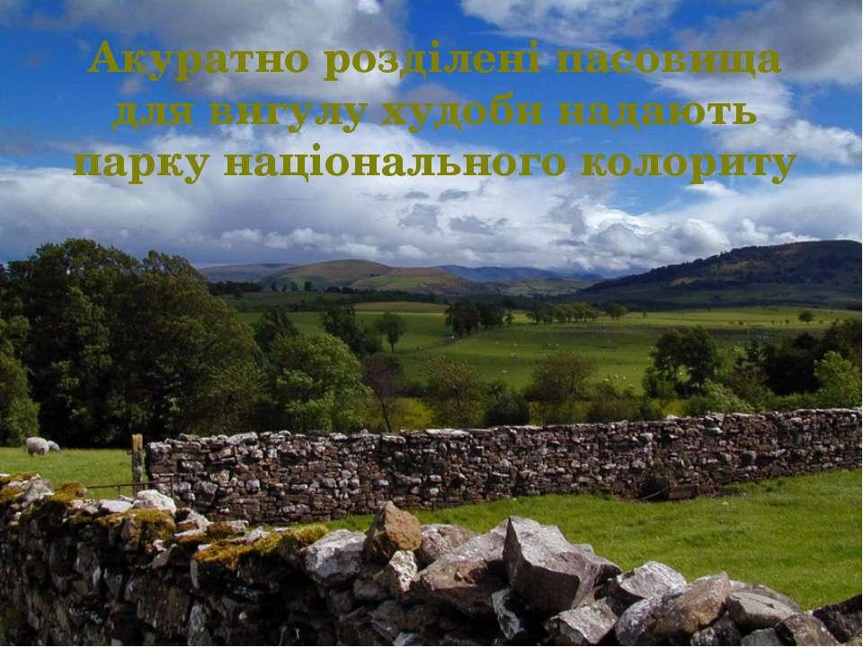 Акуратно розділені пасовища для вигулу худоби надають парку національного кол...