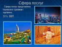 Сфера послуг Сфера послуг представлена переважно туризмом і торгівлею. 51% ВВП.