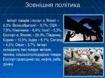 Зовнішня політика Імпорт товарів і послуг з: Японії – 9,3%; Великобританії – ...