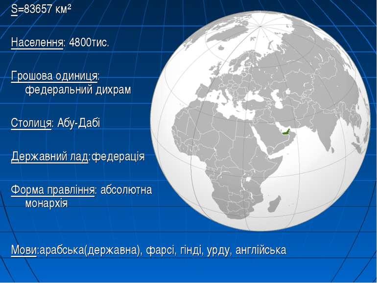 S=83657 км² Населення: 4800тис. Грошова одиниця: федеральний дихрам Столиця: ...