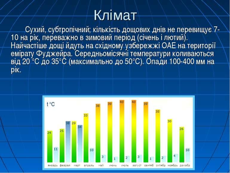 Клімат Сухий, субтропічний; кількість дощових днів не перевищує 7-10 на рік, ...