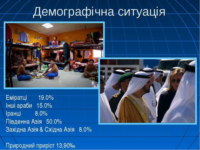 Демографічна ситуація Еміратці 19.0% Інші араби 15.0% Іранці 8.0% Південна Аз...