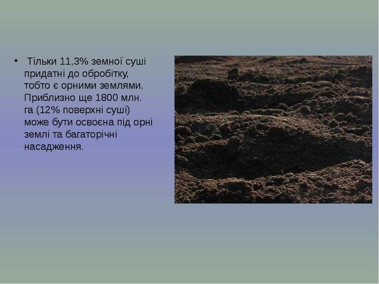 Тільки 11,3% земної суші придатні до обробітку, тобто є орними землями. Прибл...