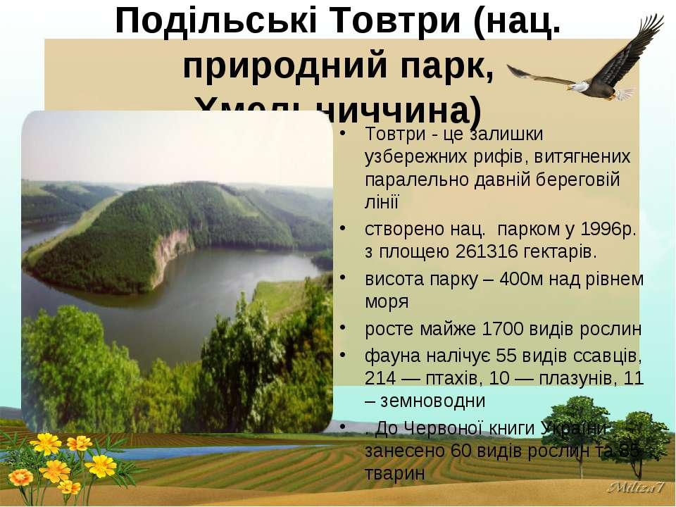 Подільські Товтри (нац. природний парк, Хмельниччина) Товтри - це залишки узб...