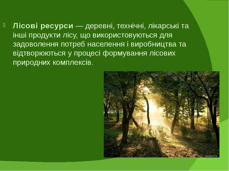 Лісові ресурси — деревні, технічні, лікарські та інші продукти лісу, що викор...
