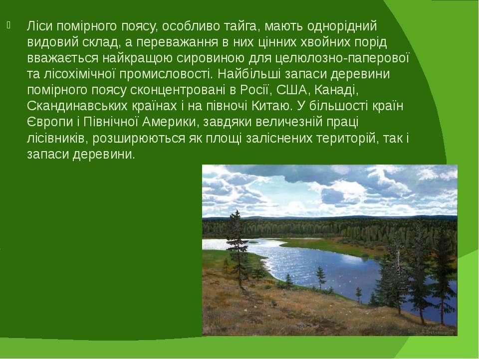 Ліси помірного поясу, особливо тайга, мають однорідний видовий склад, а перев...