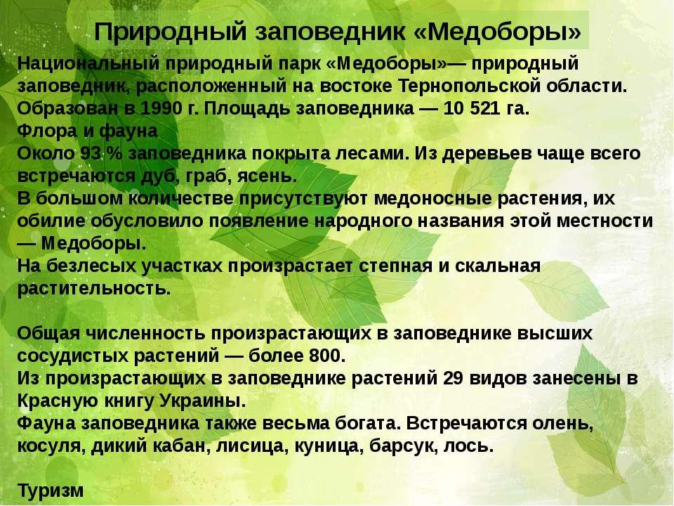 Природный заповедник «Медоборы» Национальный природный парк «Медоборы»— приро...