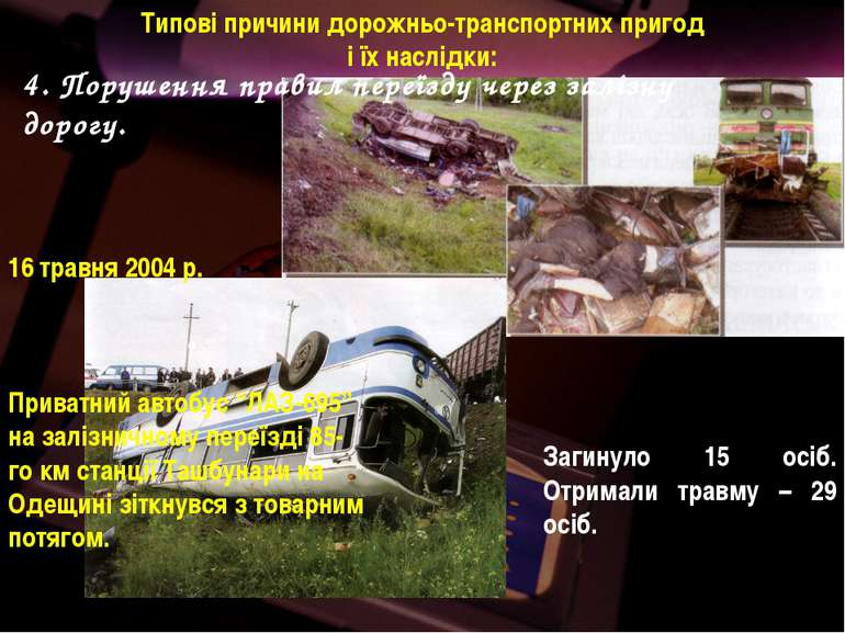 Загинуло 15 осіб. Отримали травму – 29 осіб. 16 травня 2004 р. Приватний авто...